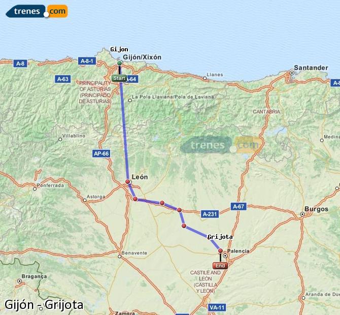 Ingrandisci la mappa Treni Gijón Grijota