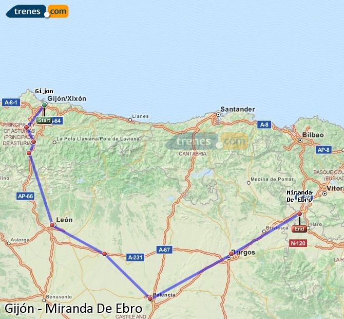 Ampliar mapa Comboios Gijón Miranda De Ebro