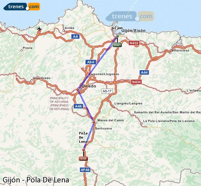 Agrandir la carte Trains Gijón Pola De Lena