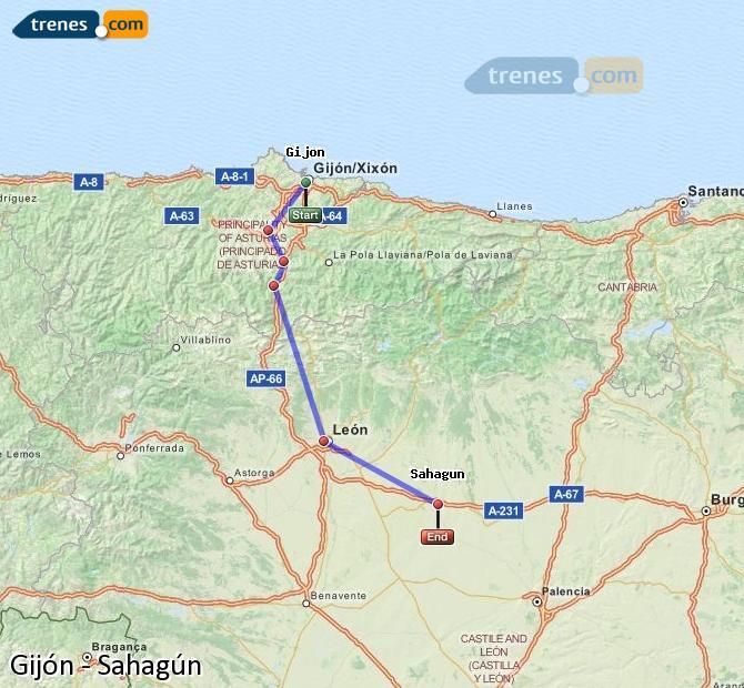 Ampliar mapa Trenes Gijón Sahagún
