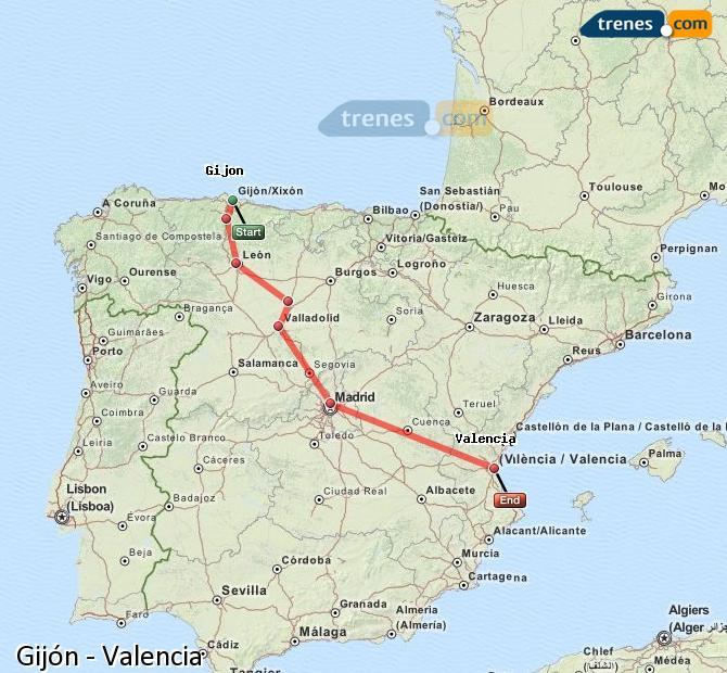 Karte vergrößern Züge Gijón Valencia