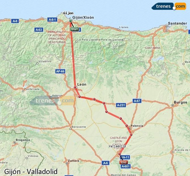 Ingrandisci la mappa Treni Gijón Valladolid
