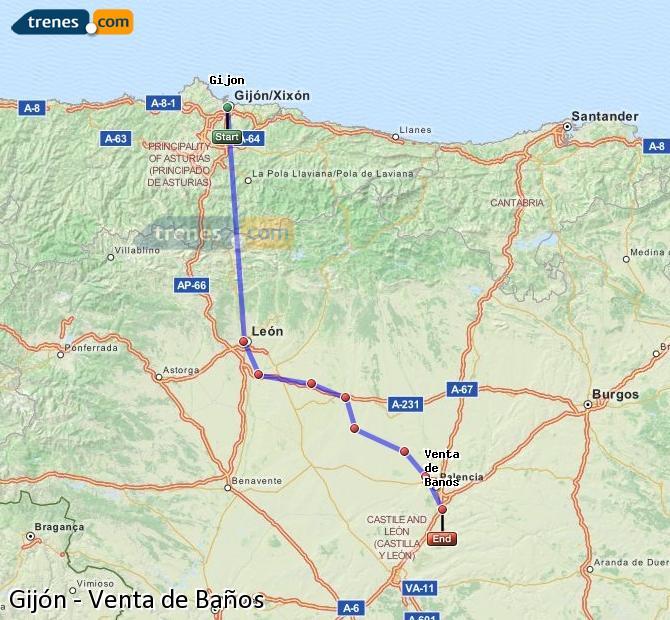 Enlarge map Trains Gijón to Venta de Baños