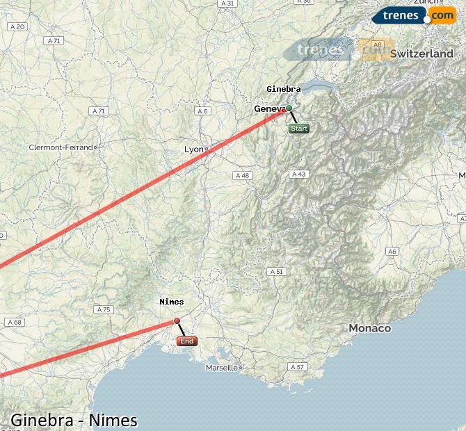 Karte vergrößern Züge Genf Nimes