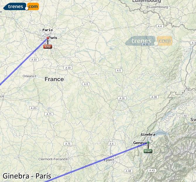 Karte vergrößern Züge Genf Paris