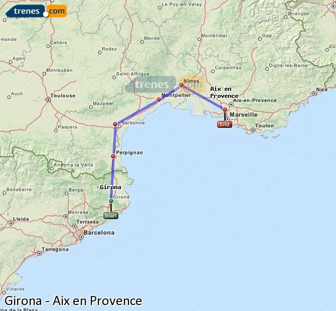 Enlarge map Trains Girona to Aix en Provence