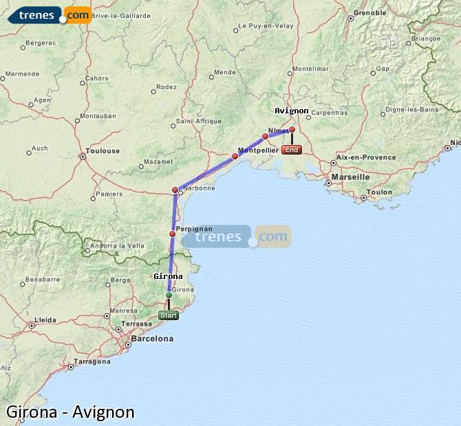 Enlarge map Trains Girona to Avignon