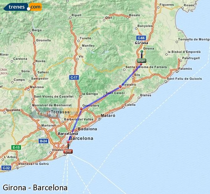 Enlarge map Trains Girona to Barcelona