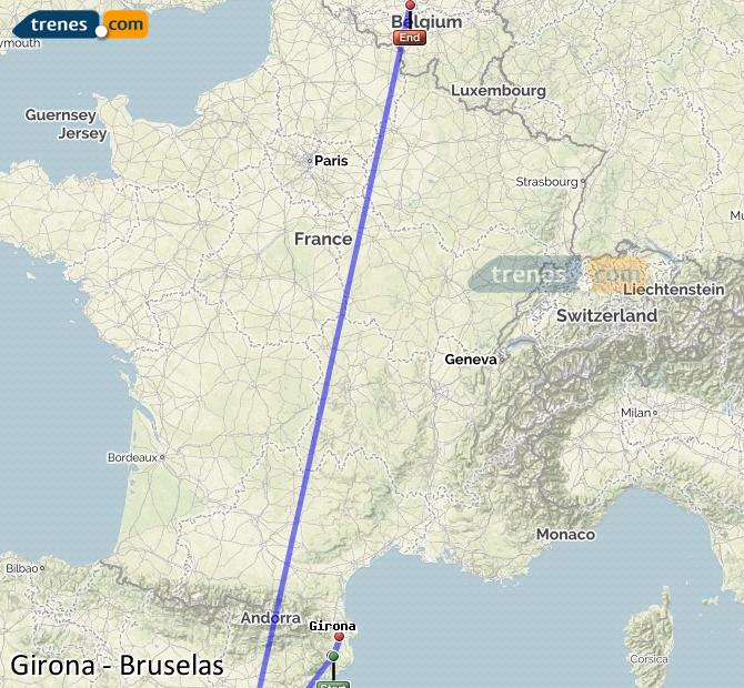 Karte vergrößern Züge Girona Brüssel