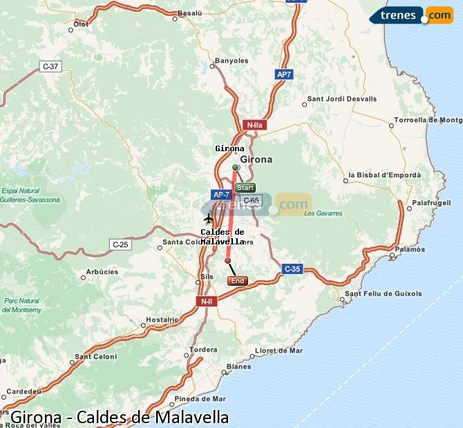 Ingrandisci la mappa Treni Girona Caldes de Malavella
