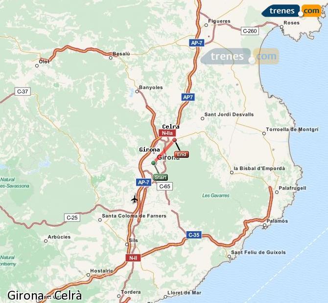 Enlarge map Trains Girona to Celrà