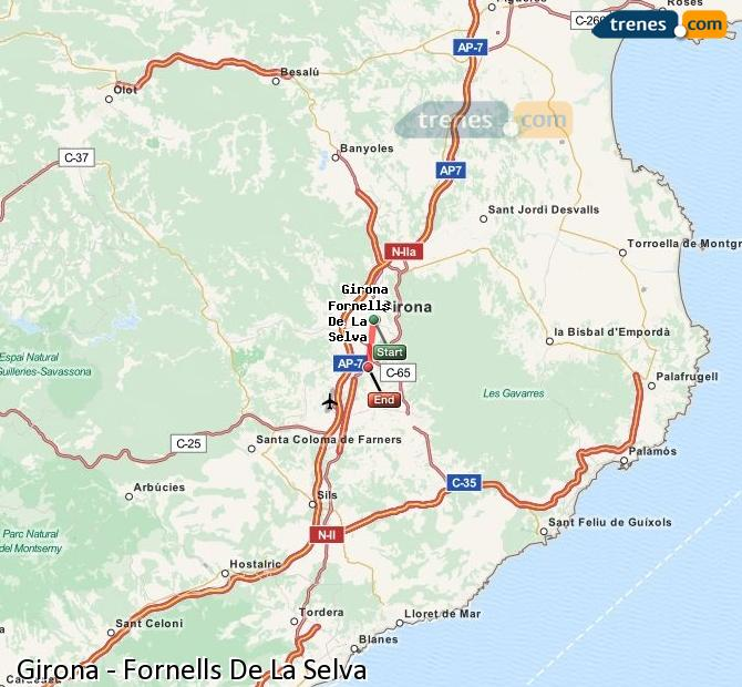 Enlarge map Trains Girona to Fornells De La Selva