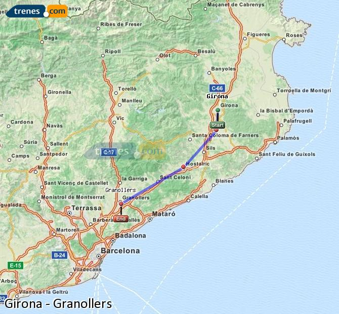 Enlarge map Trains Girona to Granollers