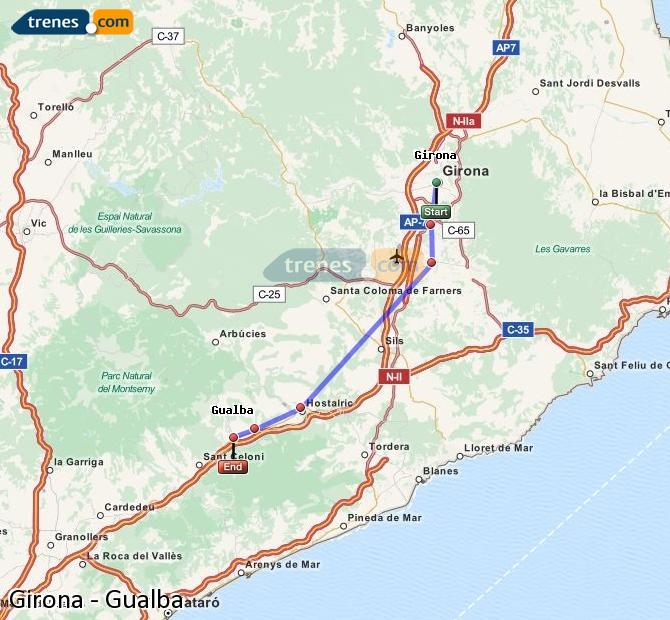 Ingrandisci la mappa Treni Girona Gualba
