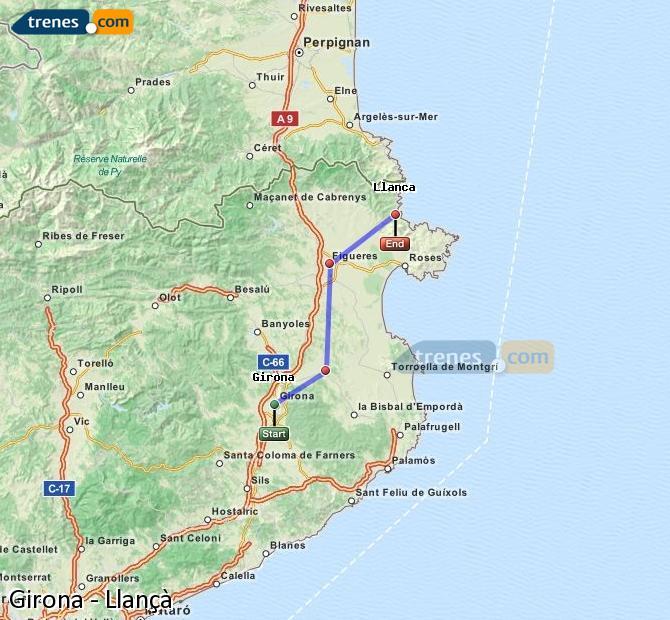 Agrandir la carte Trains Girona Llançà