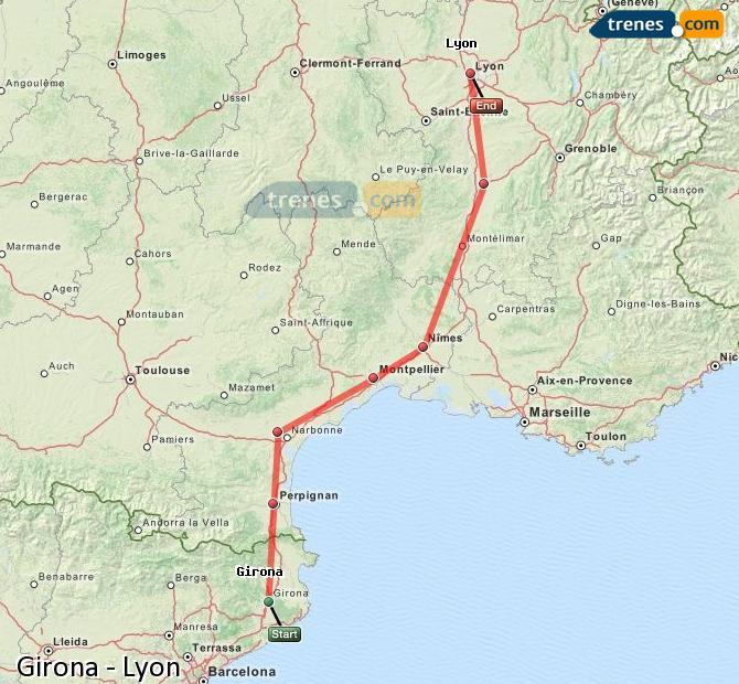 Karte vergrößern Züge Girona Lyon