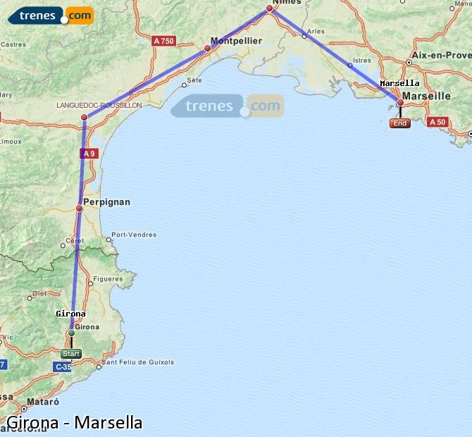 Enlarge map Trains Girona to Marsella