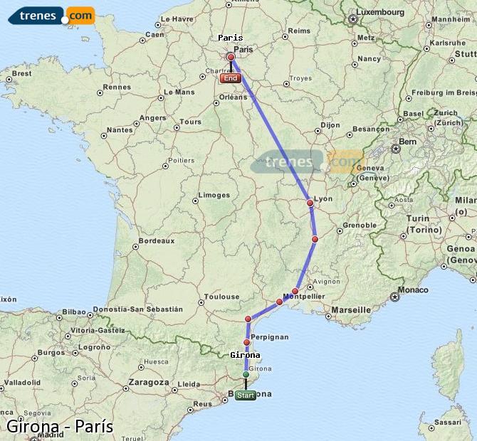 Enlarge map Trains Girona to Paris