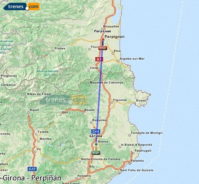 Enlarge map Trains Girona to Perpiñán