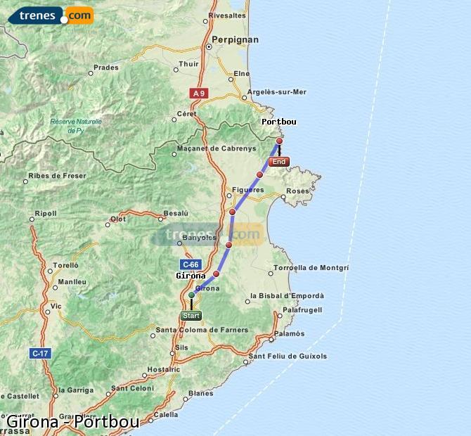 Agrandir la carte Trains Girona Portbou