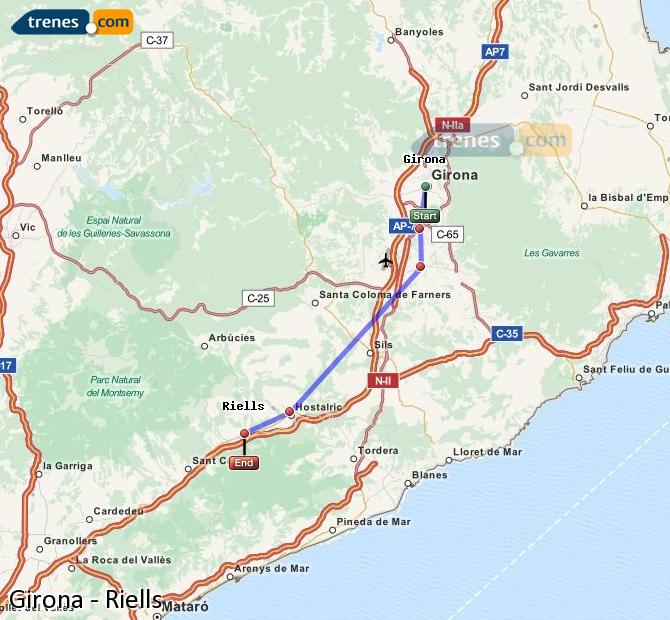 Enlarge map Trains Girona to Riells