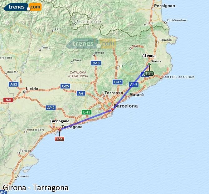 Ampliar mapa Comboios Girona Tarragona