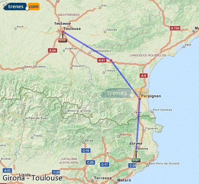 Enlarge map Trains Girona to Toulouse