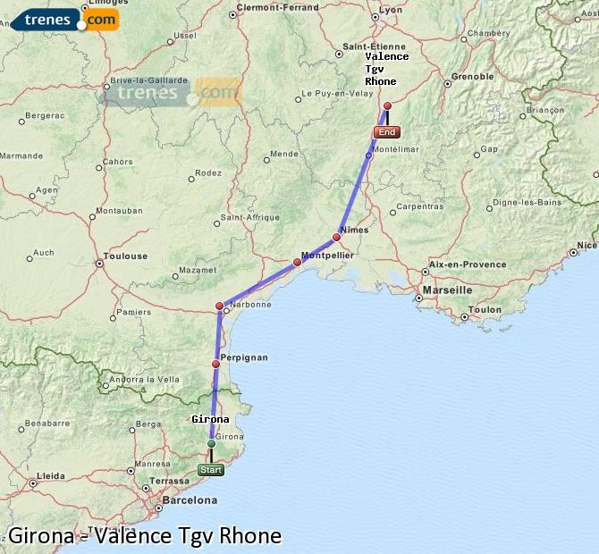 Karte vergrößern Züge Girona Valence Tgv Rhone