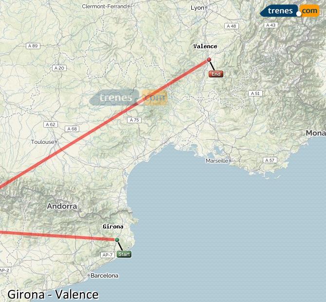 Karte vergrößern Züge Girona Valence