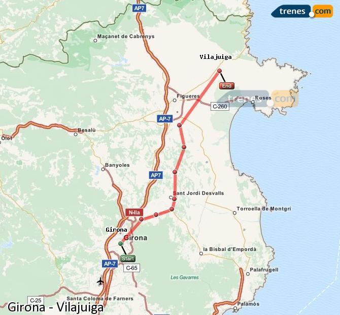 Karte vergrößern Züge Girona Vilajuiga