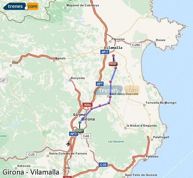 Enlarge map Trains Girona to Vilamalla