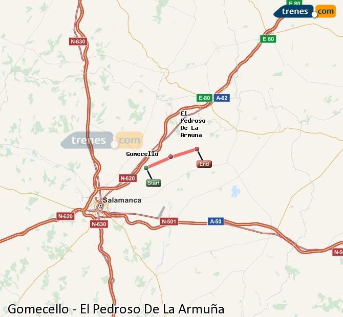 Enlarge map Trains Gomecello to El Pedroso De La Armuña