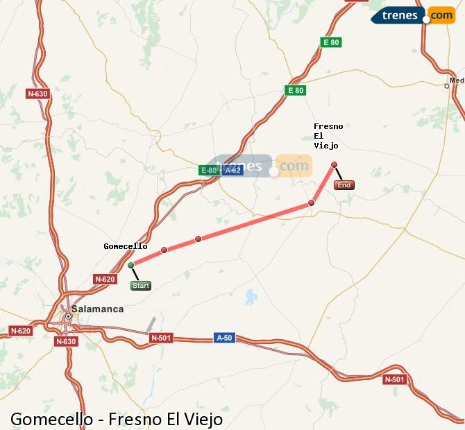 Ampliar mapa Trenes Gomecello Fresno El Viejo