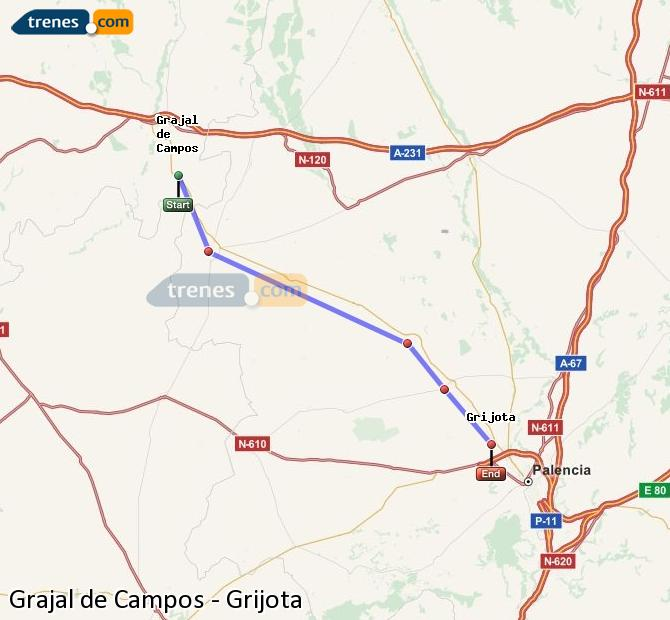 Ingrandisci la mappa Treni Grajal de Campos Grijota