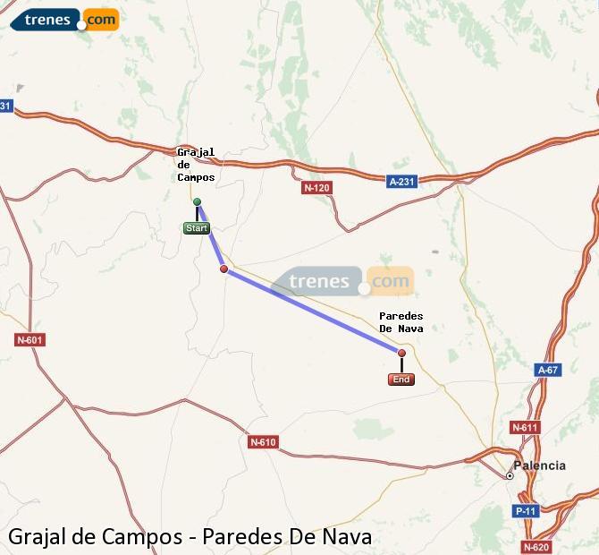 Agrandir la carte Trains Grajal de Campos Paredes De Nava