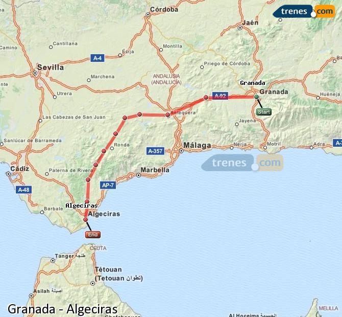 Agrandir la carte Trains Granada Algésiras