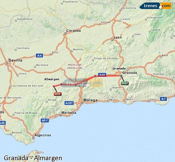 Enlarge map Trains Granada to Almargen