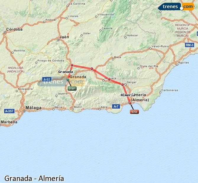 Enlarge map Trains Granada to Almeria