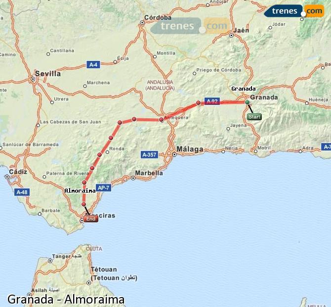 Agrandir la carte Trains Granada Almoraima