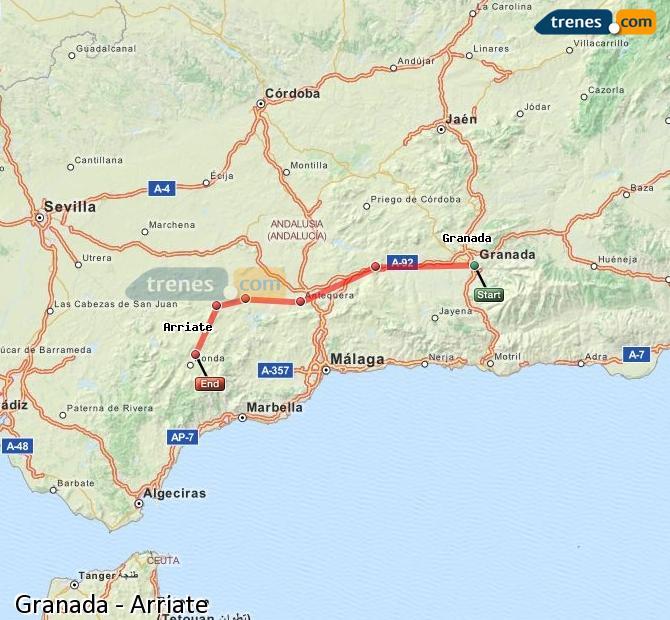 Ingrandisci la mappa Treni Granada Arriate