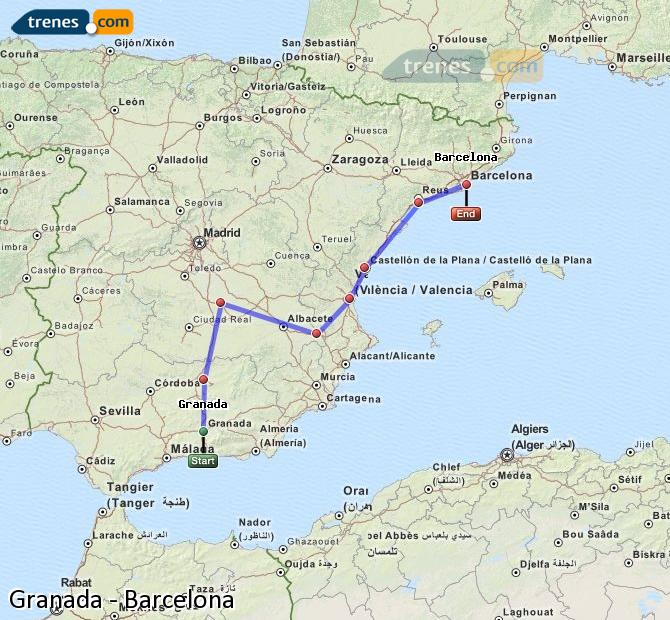 Enlarge map Trains Granada to Barcelona