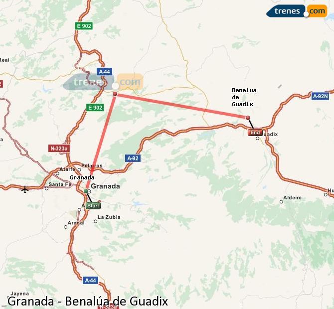 Karte vergrößern Züge Granada Benalúa de Guadix