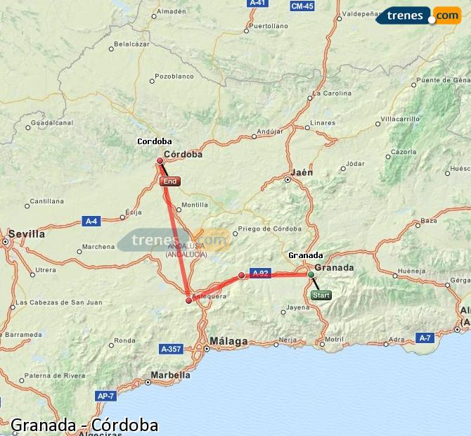 Ampliar mapa Trenes Granada Córdoba