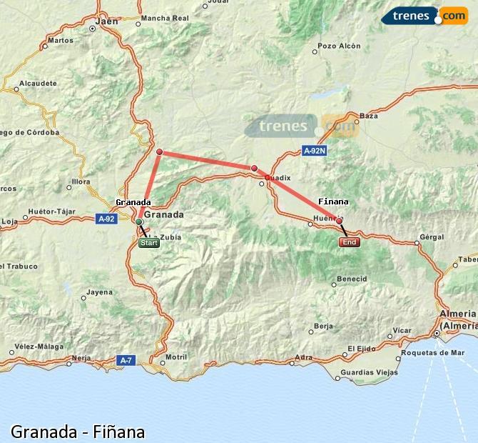 Karte vergrößern Züge Granada Fiñana