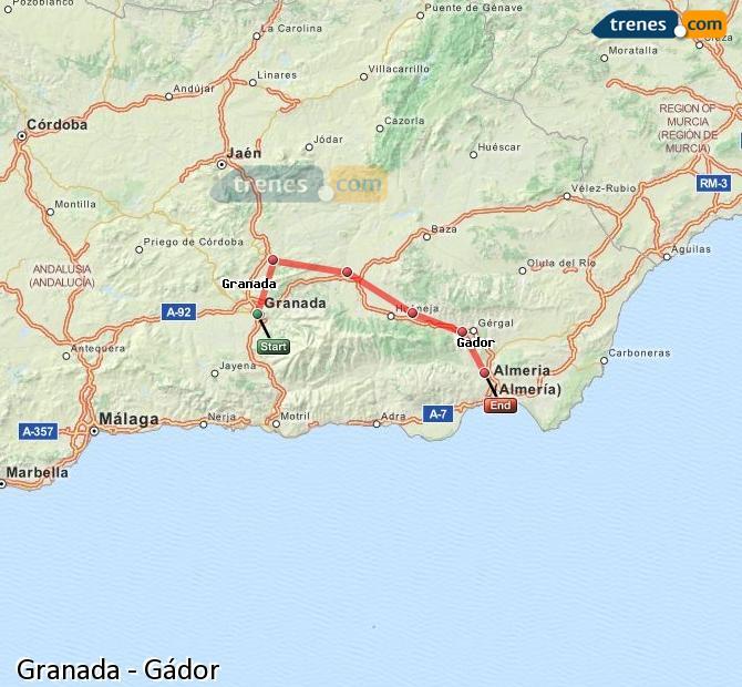 Agrandir la carte Trains Granada Gádor