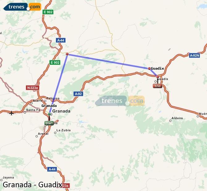 Enlarge map Trains Granada to Guadix