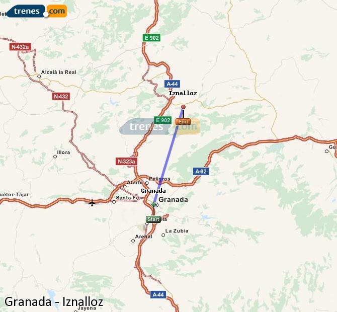 Agrandir la carte Trains Granada Iznalloz
