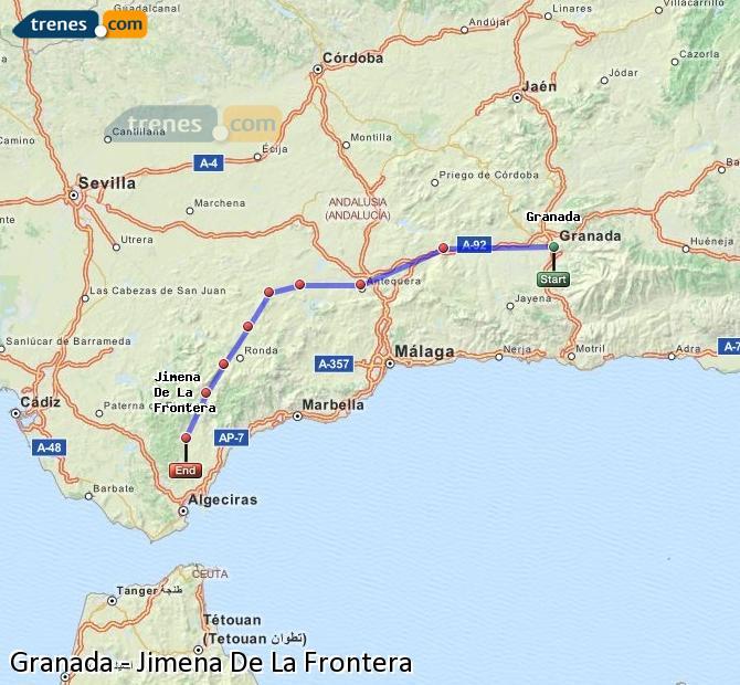 Ingrandisci la mappa Treni Granada Jimena De La Frontera