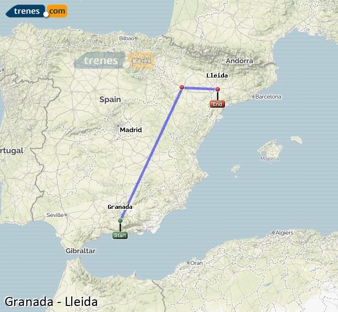 Ampliar mapa Trenes Granada Lleida