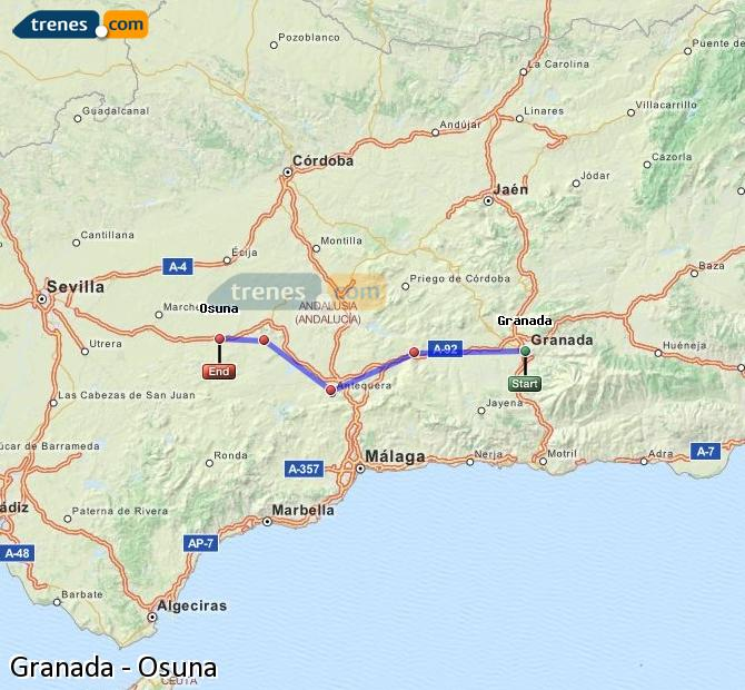 Enlarge map Trains Granada to Osuna